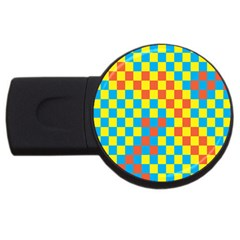 Optical Illusions Plaid Line Yellow Blue Red Flag Usb Flash Drive Round (4 Gb) by Alisyart