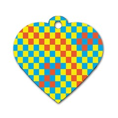 Optical Illusions Plaid Line Yellow Blue Red Flag Dog Tag Heart (one Side) by Alisyart