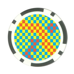 Optical Illusions Plaid Line Yellow Blue Red Flag Poker Chip Card Guard