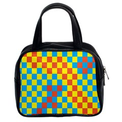 Optical Illusions Plaid Line Yellow Blue Red Flag Classic Handbags (2 Sides) by Alisyart