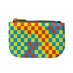 Optical Illusions Plaid Line Yellow Blue Red Flag Mini Coin Purses