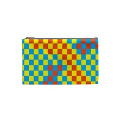 Optical Illusions Plaid Line Yellow Blue Red Flag Cosmetic Bag (small)