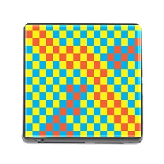 Optical Illusions Plaid Line Yellow Blue Red Flag Memory Card Reader (square)