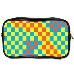 Optical Illusions Plaid Line Yellow Blue Red Flag Toiletries Bags