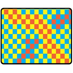 Optical Illusions Plaid Line Yellow Blue Red Flag Fleece Blanket (medium)  by Alisyart