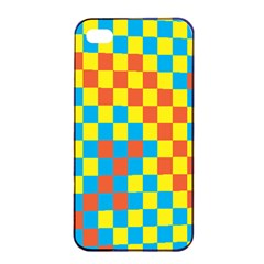 Optical Illusions Plaid Line Yellow Blue Red Flag Apple Iphone 4/4s Seamless Case (black) by Alisyart