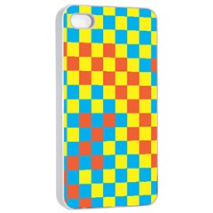 Optical Illusions Plaid Line Yellow Blue Red Flag Apple Iphone 4/4s Seamless Case (white) by Alisyart