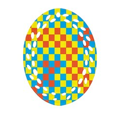 Optical Illusions Plaid Line Yellow Blue Red Flag Oval Filigree Ornament (two Sides) by Alisyart
