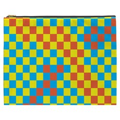 Optical Illusions Plaid Line Yellow Blue Red Flag Cosmetic Bag (xxxl)  by Alisyart