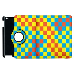 Optical Illusions Plaid Line Yellow Blue Red Flag Apple Ipad 3/4 Flip 360 Case
