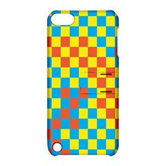 Optical Illusions Plaid Line Yellow Blue Red Flag Apple Ipod Touch 5 Hardshell Case With Stand by Alisyart