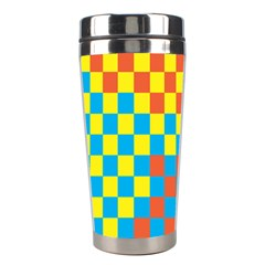 Optical Illusions Plaid Line Yellow Blue Red Flag Stainless Steel Travel Tumblers by Alisyart