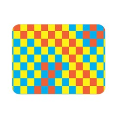 Optical Illusions Plaid Line Yellow Blue Red Flag Double Sided Flano Blanket (mini)  by Alisyart