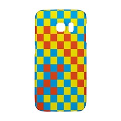 Optical Illusions Plaid Line Yellow Blue Red Flag Galaxy S6 Edge by Alisyart