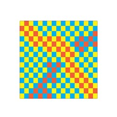 Optical Illusions Plaid Line Yellow Blue Red Flag Satin Bandana Scarf by Alisyart