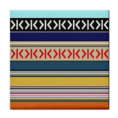 Original Code Rainbow Color Chevron Wave Line Tile Coasters by Alisyart