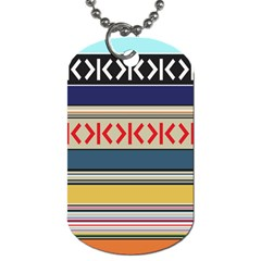 Original Code Rainbow Color Chevron Wave Line Dog Tag (two Sides) by Alisyart
