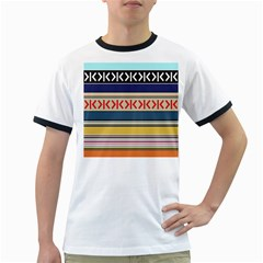 Original Code Rainbow Color Chevron Wave Line Ringer T Shirts