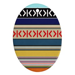 Original Code Rainbow Color Chevron Wave Line Oval Ornament (two Sides) by Alisyart