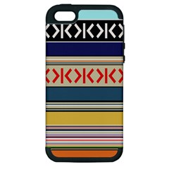 Original Code Rainbow Color Chevron Wave Line Apple Iphone 5 Hardshell Case (pc+silicone)