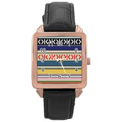 Original Code Rainbow Color Chevron Wave Line Rose Gold Leather Watch