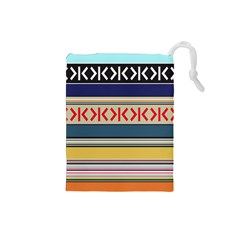 Original Code Rainbow Color Chevron Wave Line Drawstring Pouches (small)  by Alisyart