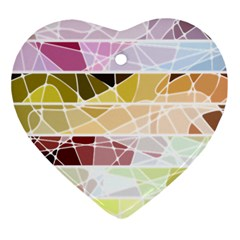 Geometric Mosaic Line Rainbow Ornament (heart) by Alisyart
