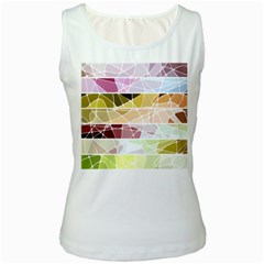 Geometric Mosaic Line Rainbow Women s White Tank Top by Alisyart