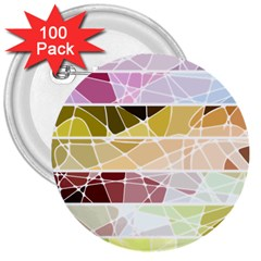 Geometric Mosaic Line Rainbow 3  Buttons (100 Pack)