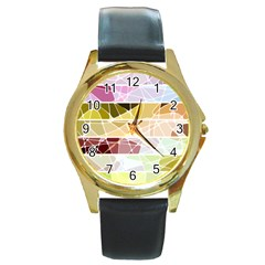Geometric Mosaic Line Rainbow Round Gold Metal Watch by Alisyart