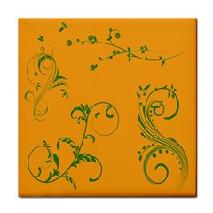 Nature Leaf Green Orange Tile Coasters by Alisyart