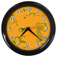 Nature Leaf Green Orange Wall Clocks (black) by Alisyart