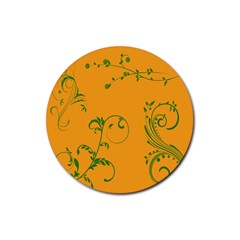 Nature Leaf Green Orange Rubber Round Coaster (4 Pack)  by Alisyart