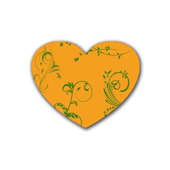 Nature Leaf Green Orange Rubber Coaster (heart)  by Alisyart