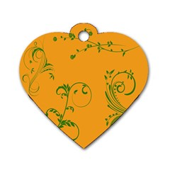 Nature Leaf Green Orange Dog Tag Heart (one Side) by Alisyart