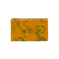 Nature Leaf Green Orange Cosmetic Bag (small)  by Alisyart