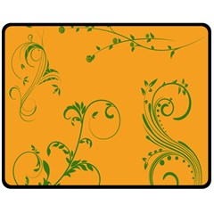 Nature Leaf Green Orange Double Sided Fleece Blanket (medium)