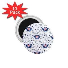 Heart Love Valentine Flower Floral Purple 1 75  Magnets (10 Pack)