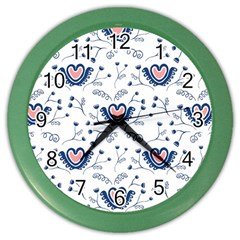 Heart Love Valentine Flower Floral Purple Color Wall Clocks by Alisyart