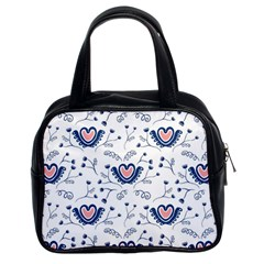 Heart Love Valentine Flower Floral Purple Classic Handbags (2 Sides)