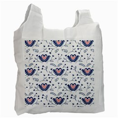 Heart Love Valentine Flower Floral Purple Recycle Bag (one Side)