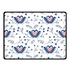 Heart Love Valentine Flower Floral Purple Fleece Blanket (small)