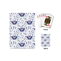 Heart Love Valentine Flower Floral Purple Playing Cards (mini)  by Alisyart