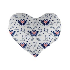 Heart Love Valentine Flower Floral Purple Standard 16  Premium Heart Shape Cushions by Alisyart