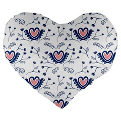 Heart Love Valentine Flower Floral Purple Large 19  Premium Heart Shape Cushions by Alisyart