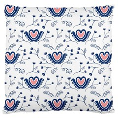 Heart Love Valentine Flower Floral Purple Large Flano Cushion Case (one Side)