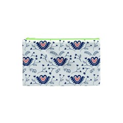 Heart Love Valentine Flower Floral Purple Cosmetic Bag (xs) by Alisyart