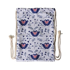 Heart Love Valentine Flower Floral Purple Drawstring Bag (small) by Alisyart
