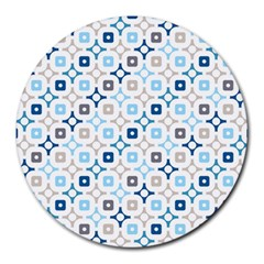 Plaid Line Chevron Wave Blue Grey Circle Round Mousepads