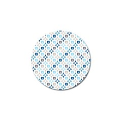 Plaid Line Chevron Wave Blue Grey Circle Golf Ball Marker (4 Pack)